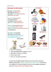 English Worksheet: MY PUPPY ATE MY EARBUDS (a poem + questions + working with eating vocabulary)