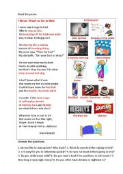English Worksheet: I NEVER WANT TO GO TO BED (a poem + questions)