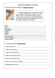 English Worksheet: Personal profile activity