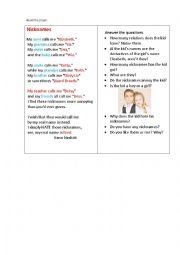 English Worksheet: NICKNAMES (a poem+ questions)