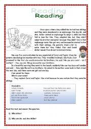 English Worksheet: Reading short story