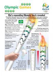 English Worksheet: Rio 2016 - Rio de Janeiro�s Olympic Torch