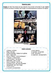 English Worksheet: Guessing game (pair work) Romeo + Juliet