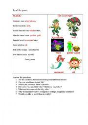 English Worksheet: MAGIC (a poem + questions)