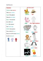 English Worksheet: PAJAMAS (a poem + questions)