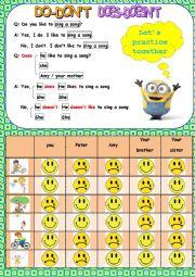 English Worksheet: Do you like to.../ Does she or he like to ...