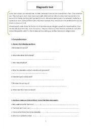 English Worksheet: diagnostic/placement test