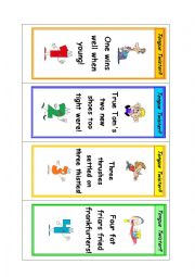 English Worksheet: Tongue twister bookmarkers