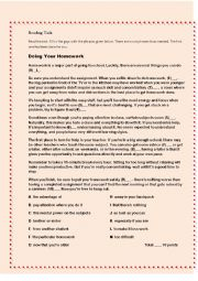 English Worksheet: Reading DOING HOMEWORK