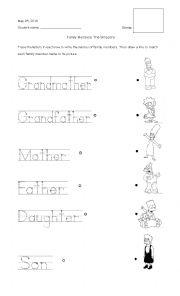English Worksheet: Cursive Handwriting Family members