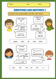 English Worksheet: Meeting people 2
