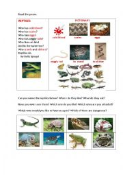 English Worksheet: REPTILES ( a riddle-poem)