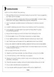 English Worksheet: Comma Worksheet