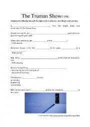 english worksheets movie trailer listening activity the truman show. Black Bedroom Furniture Sets. Home Design Ideas