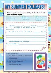 English Worksheet: MY SUMMER HOLIDAYS!