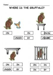 English Worksheet: Where is the gruffalo?