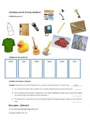 English Worksheet: Describing Materials and Things
