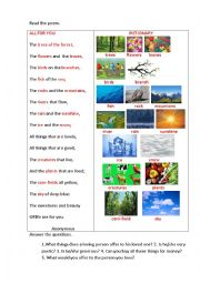 English Worksheet: ALL FOR YOU (a poem)