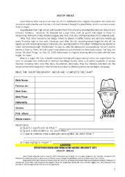 English Worksheet: Biography of Jason Mraz - text and questions