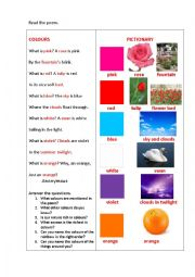 English Worksheet: COLOURS (a poem)