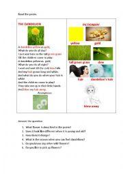 English Worksheet: DANDELION (a poem)