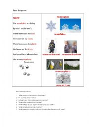 English Worksheet: SNOW (a poem)