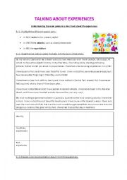 English worksheet: Talking about Experiences