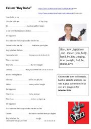 English worksheet: Song by Calum