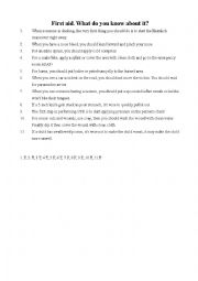 English Worksheet: first aid true and false