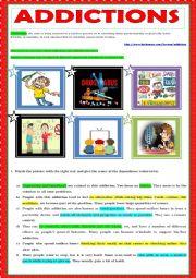 English Worksheet: ADDICTIONS - matching exercise