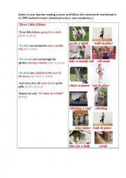 English Worksheet: THREE KITTENS (a poem) TPR method