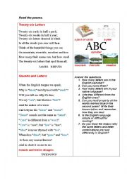 English Worksheet: LETTERS AND SOUNDS (2 poems)