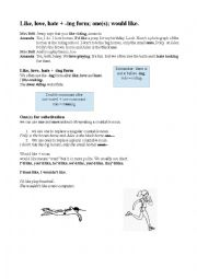 English Worksheet: like, love and hate + ing