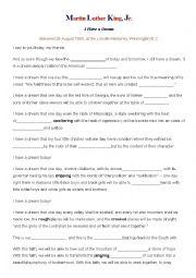 English Worksheet: I have a dream MLK worksheet