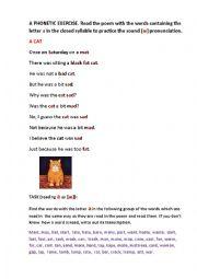 English Worksheet: A SAD FAT CAT (a poem)