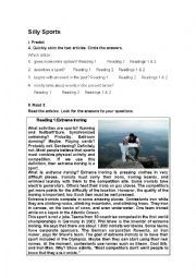 English Worksheet: Reading Comprehension: SILLY SPORTS