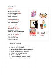 English Worksheet: MY MUM (a poem)
