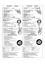 English Worksheet: three little birds song