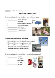English Worksheet: There was - There were