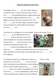 English worksheet: Simple Opposite Adjectives Cloze
