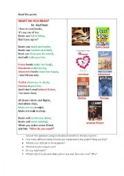 English Worksheet: Books (a poem+ questions)