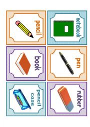English worksheet: School Flashcards
