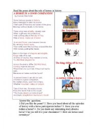 English Worksheet: A HORSE (a poem)