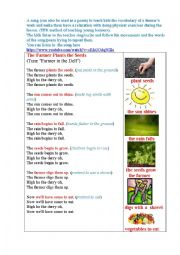 English Worksheet: PLANT SEEDS (a song/poem) TPR method for young kids