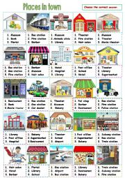 English Worksheet: Places in town Part 1