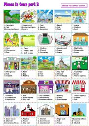 English Worksheet: Places in town Part 2
