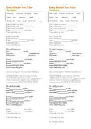 English Worksheet: Song Class - Every Breath you take