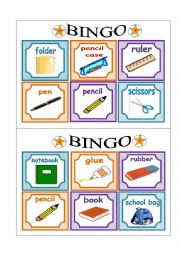 English worksheet: PART 1 School Bingo Cards