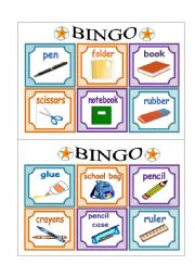 English Worksheet: PART 2 School Bingo Cards
