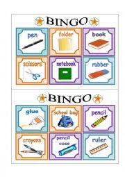 English Worksheet: PART 2 School Bingo Cards